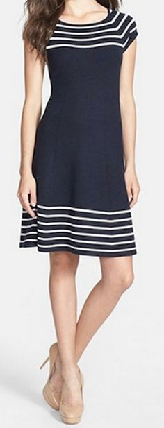striped knit flared dress http://rstyle.me/n/v94kwpdpe