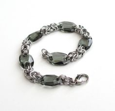 Byzantine chainmail bracelet with crystal by TattooedAndChained, $40.00