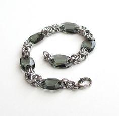 Byzantine chainmail bracelet with crystal links