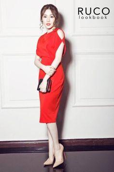 Đầm Công Sở Hở Vai Sang Trọng - Đỏ Dresses For Work, How To Wear, Style, Products, Fashion, Vestidos, Swag, Moda, Fashion Styles