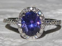 Precision Cut Untreted Purple Sapphire in White Gold Diamond Halo Engagement Ring, Purple Sapphire Engagement Ring, by JuliaBJewelry
