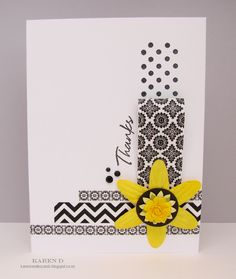black/white and yellow Washi Tape Card