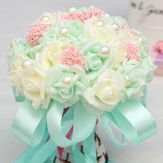Handmade Bridal Flowers Pearls Wedding Bouquet Artificial Roses Silk Brooch New #Unbranded