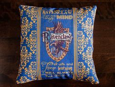 Harry Potter, Ravenclaw, Hogwarts, J.K. Rowling, Movies, throw pillows, decorative pillows, wizard, christmas, room decorating ideas, gifts