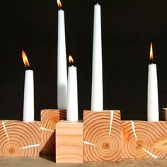wood candle holders by JeanPelle $50