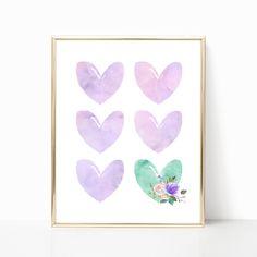 Purple and Teal Watercolor Hearts Nursery Art. Girl Nursery Art. Nursery Wall Art. Lavender Nursery Decor. Lilac Nursery Decor. Purple Aqua by PeanutPrintsBoutique on Etsy https://www.etsy.com/listing/551007930/purple-and-teal-watercolor-hearts