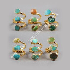 Gold Plated Three Real Natural Turquoise Wrap Ring by aliceUS
