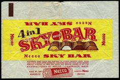 Necco - Sky Bar candy wrapper 1950's 1960's by JasonLiebig, via Flickr( Necco wafer sky bar necco wafer sky bar)mom liked these!