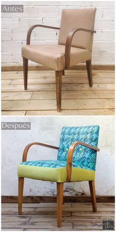 Antes y Después, Sillón años 60 restaurado y retapizado en dos colores. Studio Alis - Barcelona
