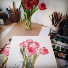 Good morning Friday!flowers for you! Red Tulips! trying out and playing this time with all filters possible :D give me more! #tulips #red #flowerpainting #Watercolour #flowerslover #ilovefridays #playingwithfilters  #messystudio #artoftheday #atelierfrankfurt  #instaartist #rot #blumen #tulpen #kunst #artsy #ffm #gutenmorgen #freitag