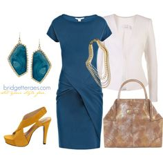 Teal Dress Styled for Business by bridgetteraes on Polyvore featuring Diane Von Furstenberg, Alexander McQueen, Kendra Scott, Marie Chavez and VILA