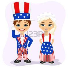 little boy and girl dressed up like Uncle Sam. 4th of july costume photo