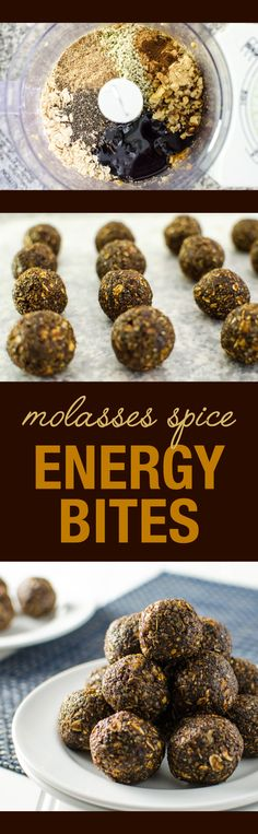These molasses spice energy bites are sweet and spicy, chewy and crispy and full of healthy ingredients. A perfect vegan and gluten-free snack - no baking! Vegan Sweets, Healthy Sweets, Vegan Desserts, Raw Food Recipes, Sweet Recipes, Snack Recipes, Healthy Snacks, Vegetarian Recipes, Protein Bites