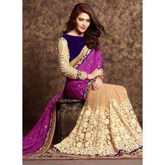 Online shopping for designer pink & cream ethnic wedding fancy half half saree by being fashion