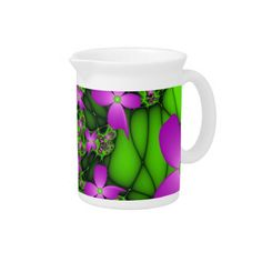 Modern Abstract Neon Pink Green Fractal Flowers Beverage Pitcher