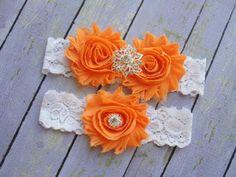 Orange Garter Orange Wedding Garter Colorful Wedding by SkyeBridal, $20.00