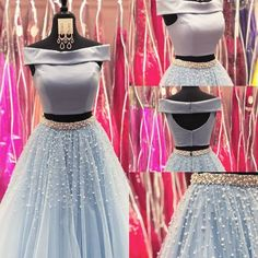 Two Piece Long Prom Dress, Light Sky Blue Prom Dress, Off The Shoulder Prom Dress,Sexy Prom Gown , Customize Made Indian Designer Outfits, Indian Outfits, Designer Dresses, Prom Dresses Long Pink, Trendy Dresses, Dress Prom, Dress Long, Indian Gowns Dresses, Evening Dresses