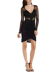 Mesh Cut Out Ruched Bodycon Dress