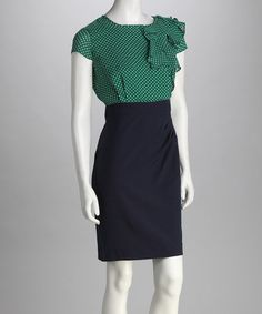 Take a look at this Kelly & Navy Polka Dot Dress on zulily today!