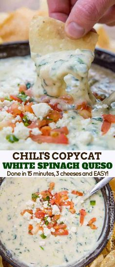 Chili's White Spinach Queso (Copycat) - Dinner, then Dessert Chili& White Spinach Queso made with fresh spinach and three cheeses served in a still warm skillet in just 10 minutes! The perfect appetizer recipe your whole family will love. Dip Recipes, Mexican Food Recipes, Cooking Recipes, Copycat Recipes, Cooking Ideas, Recipies, Light Recipes, Yummy Appetizers, Appetizer Recipes