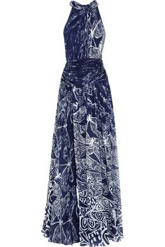 Midnight-blue and white printed silk-chiffon Twisted neckline, pleated, wrap-effect waistband, fully lined Hook-fastening keyhole at back, concealed hook and zip fastening at side 100% silk Dry clean