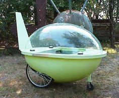 .killer kinetic lime green space ship Jetson mobile bubble car $1,500.00 RustySpoke's shop on Etsy
