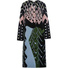 Peter Pilotto Wool Angora Multicolored Mid Length Coat (117,835 DOP) ❤ liked on Polyvore featuring outerwear, coats, peter pilotto, colorful coat, woolen coat, angora coat and black wool coat