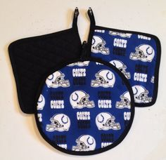 INDIANAPOLIS COLTS Quilted Potholders  by TheCraftyHookers on Etsy