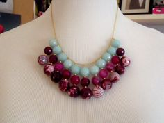 Aqua and pink agate beaded bib necklace by rachelmulherin on Etsy