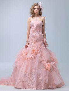 ウェディングドレス+マーメイドライン+ベアトップ+オーガンジー+フラワー+ファスナー+ピンク+スウィープ+結婚式+二次会ドレス+花嫁+Hlb0087