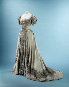 "Evening Dress, ""Les Hortensias bleus,"" Doucet: ca. 1897-1906, French, tulle, satin silk, chenille embroidery, silk lamé, embossed cabochons. Object Number: GAL1960.26.2"