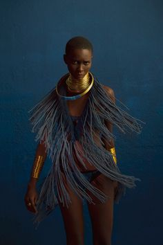 What a beautiful shoot, the model, the styling everything, Brazilian Model Mahany Pery photographed by Adriano Damas for Clam Magazine Sadly there is no credit for the stylist if there was one or the designer. Moda Tribal, Tribal Mode, Tribal Style, African Beauty, African Art, African Fashion, Tribal African, Ankara Fashion, African Prints