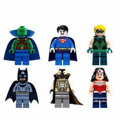 6 Sets Building Toys Minifigures Super Heroes Green Arrow Batman Kid's Blocks VS #Unbranded