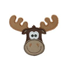Comical Moose Head Infant Embroidered Iron On Applique Patch