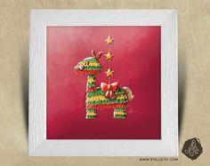 Cadre carré 25x25 avec Illustration Lama Piñata pour Chambre