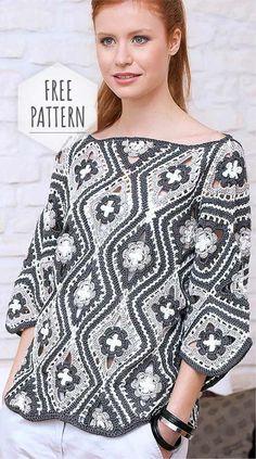 Crochet Patterns Blusas Pullover of Flower Free Pattern Gilet Crochet, Crochet Coat, Crochet Jacket, Crochet Cardigan, Crochet Clothes, Moda Crochet, Easy Crochet, Free Crochet, Crochet Bodycon Dresses
