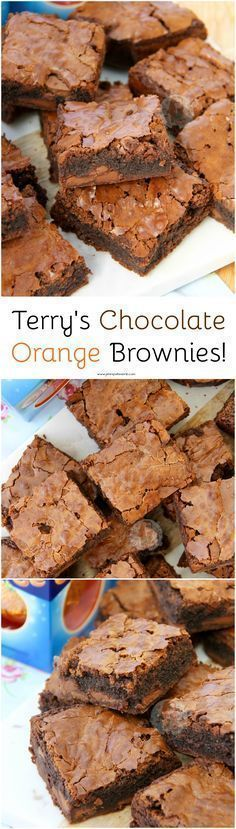 Orange brownies - Terry's Chocolate Orange Brownies! ❤️ Moist, Chocolatey and Delicious Brownies with a hint of Orange, dotted with Terry's Chocolate Orange Chunks! Yummy Treats, Delicious Desserts, Sweet Treats, Yummy Food, Delicious Chocolate, Brownie Recipes, Cake Recipes, Dessert Recipes, Brownie Blondie