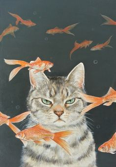 Goldfish and cat | thisisgallery | favorite artists is found art purchase and sales site