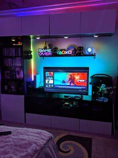 Bedroom Setup, Boys Bedroom Decor, Room Ideas Bedroom, Computer Gaming Room, Gaming Room Setup, Geek Room, Mundo Dos Games, Video Game Rooms, Game Room Design