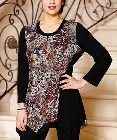 Look at this #zulilyfind! Black & Maroon Floral Handkerchief Tunic #zulilyfinds