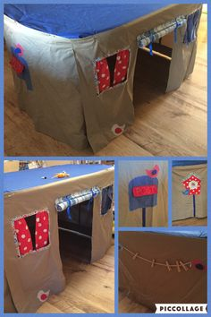 A Table Den for my niece & nephew. Had lots of fun adding details of letter box, bird box with openings to peep through, washing line & birds.