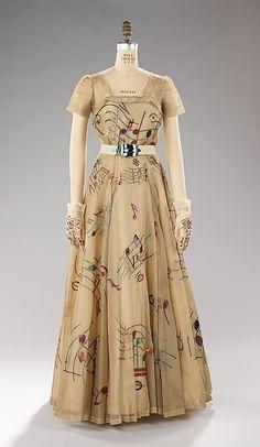 Elsa Schiaparelli vintage dress fall 1939 Music Collection