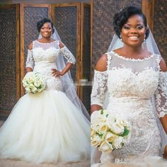 2017 New African Modern Mermaid Wedding Dresses Jewel Neck Illusion Off Shoulder Lace Appliques Sweep Train Plus Size Formal Bridal Dress Lace Wedding Dress Mermaid Wedding Dress 2017 Wedding Dress Online with $192.58/Piece on Haiyan4419's Store | DHgate.com