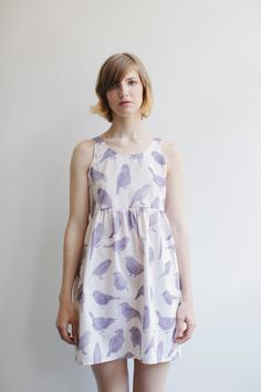 Blue Bird Dress by Leah Goren. with leggings a oversised cardigan and dr. martens!!!
