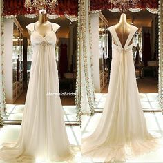 Mermaid Bridal - Ivory Simple Chiffon A-line Beach/Destination Wedding Dress, Wedding gown with with Beaded waist band and Sweetheat Neckline