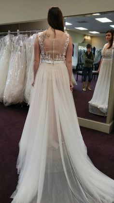 Lace Appliqued Soft Tulle Beach Wedding Dresses,Plus Size Summer Wedding Dresses,APD2413 - Thumbnail 1