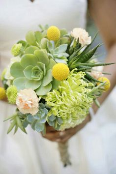 Unique Wedding Bouquet Featuring: Chartreuse Spider Mums, Green Button Mums, Several Varieties Of Green Succulent, Yellow Craspedia (Billy Balls), & Pretty Peach Carnations·····