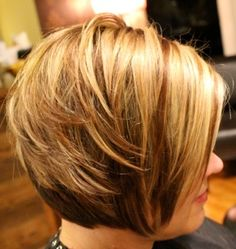 I love the color of the hair style that has the caption: Bold blonds with a golden/copper brown low light.   Very texturized / layered bob.