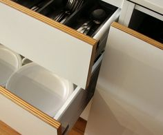 drawer fronts- ply & white laminate