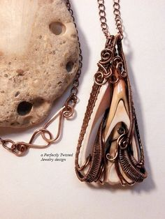 Wire Wrapped Sea Shell Pendant Sliced Seashell por PerfectlyTwisted